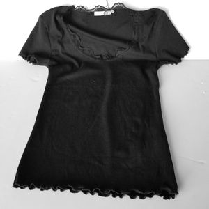 | Zara | Ribbed T Shirt with Lace Small